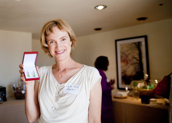 Calla Poses Donated Earrings at Association of Women in Communications Awards Luncheon, Santa Barbara 2012