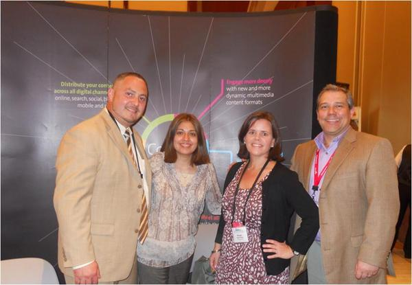 PR Newswire Multicultural & MultiVu Latino teams at exhibit booth at Hispanicize 2012. From left to right: Yosmay Valdivia, Nadia Vizueta, Margarta Hernandez and Manny Santos