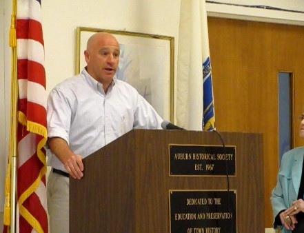 Delivering remarks at Auburn, MA Town Council meeting